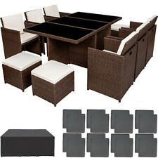 Ensemble Salon de jardin en résine tressée poly rotin table set 6+1+4 marron