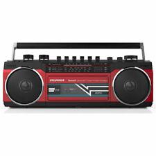 SYLVANIA Portable Bluetooth Cassette Speaker / Boombox with Radio - Red