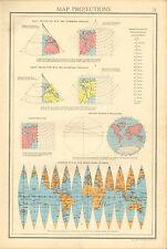 1942 PRINT ~ MAP PROJECTIONS ~ CONIC STANDARD PARALLELS BONNE'S VAN DER GRINTENS