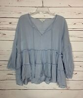 Lucky Brand Women's M Medium Blue White Striped Ruffle Spring Top Blouse Shirt