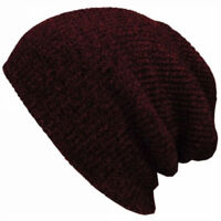 Mens Ladies Knitted Woolly Winter Oversized Slouch Beanie Hat Cap Stretch Unisex