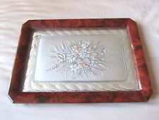 Castellani Sterling Silver Tray with Glass Overlay and Lacquered Wood Sides