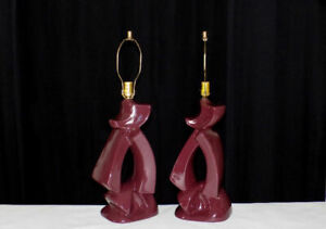 Pair of abstract Royal Haeger ? pottery lamps purple    Atomic, Post Modern era