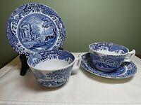 Spode Tea Cups & Saucers (2) Copeland Italian Blue White England Vintage GX4