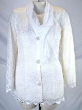 A La Carte Ivory Lace Lined V-Neck Button Front Top & Scarf Womens Medium 8 10