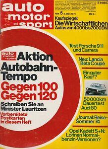 auto motor sport Heft 5 März 1974 Test Porsche 911 Audi 80 LS Lancia Beta Coupe