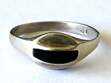 Vintage Ladies Ring Thin Band Sz 5 Mexico 925 Sterling Silver Black Onyx Inlay