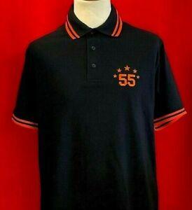 Rangers Fan 55 Titles Polo Shirt Black Orange Royal White Trim and embroidery