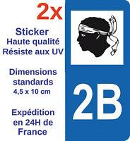 2 Autocollants pour plaque immatriculation sticker département Adhésif 2B Corse