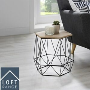 NEW ELEGANT LOFT RANGE HEXAGON WIRE SIDE TABLE WOOD TOP COFFEE SIDE TABLE