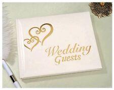 Elegant Wedding Bridal Guest Book Album with Interlocking DOUBLE HEARTS ~ GOLD