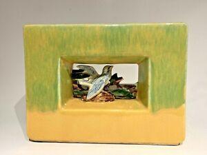 Vintage McCoy Pottery Arcature Blue Bird Green over Yellow Peek-a-Boo Vase