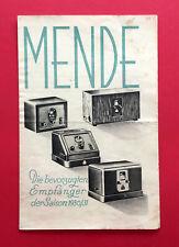 alter Radio Prospekt MENDE 20, 25, 38, 50 und 100 Dreiröhreng. 1930/31 ( F19005