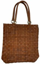 FALOR LE BORSE BROWN WOVEN LEATHER