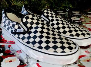 Vans Classic Slip-On Black/White Checkerboard Custom Canvas Men 10.5 Women 12