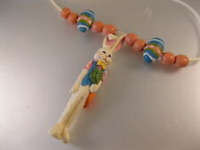 Vintage Easter Bunny Hand Painted Pendant Necklace Vintage Jewelry