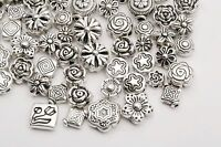 Wholesale  Mixed 80pcs Tibetan Silver Flower Spacer Beads For Jewelry DIY -hi