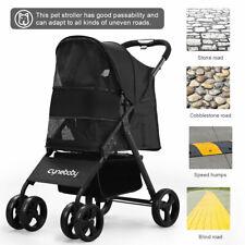 New 4 Wheels Folding Pet Stroller Cat Dog Cage Stroller Portable Travel Carrier
