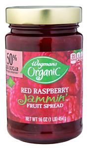 Wegmans Organic Red Raspberry Jammin' Fruit Spread Jam, 16 ounce Jar