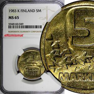 Finland Aluminium-Bronze 1983 K 5 Markkaa NGC MS65 1 GRADED HIGHEST KM# 57 (049)