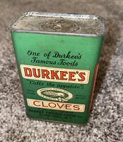 VINTAGE Durkee's Green Metal Tin Cloves SPICE TIN