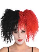 Ladies Jesterina Wig Harlequin Clown Circus Jester Halloween Fancy Dress Costume