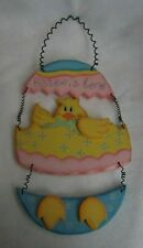 Happy Easter Hand Crafted Studio 33 Easter `S Here Chicken Wood Wall Hanging