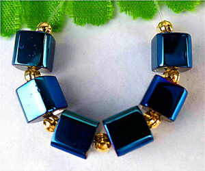 7mm 6Pcs Blue Titanium Crystal Cube Height Hole Pendant Bead BT90761