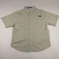 Mens Columbia L Tan Plaid Omni-shade Vented PFG Short Sleeve Button Front Shirt