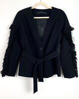 Zara Basic Collection Women's S Blazer Black Jacket V Neck Lace Ruffle.