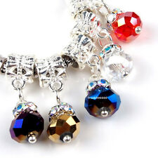 5PCS Alloy Dangle 6x8mm Faceted Glass Crystal Charms Beads Fit European Bracelet