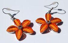 Earring Sparkle Resin Plumeria Hibiscus Flower Dangle Hawaii Luau CZ Orange