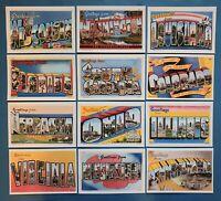 Set of 12 NEW Vintage Reproduction USA States Large Letter Postcards Set 1