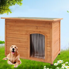 Dog Puppy House Kennel Flat Top Pet Shelter Asphalt Roof Outdoor Garden S/M/L
