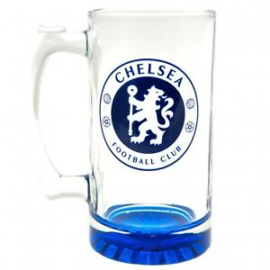 Chelsea FC Stein Glass Tankard CC - Beer Ale Lager Mug - Official Merchandise