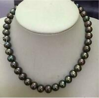 "18"" Huge 11-12 MM BLACK AAA+ NATURAL TAHITIAN PEARL NECKLACE 14K GOLD"