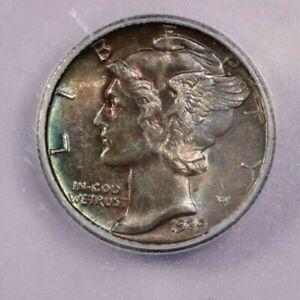 1939-S 1939 Mercury Dime ICG MS64 Beautifully Toned! WOW!