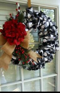 Handmade buffalo plaid and burlap ribbon Christmas wreath  Great Christmas Gift