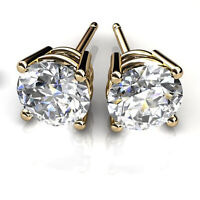 Round Cut 2.00Ct Natural Diamond Earrings Stud Solid 14K Yellow Gold Studs VS1/H