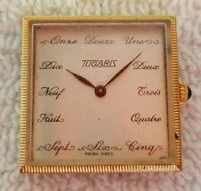 """""""TUGARIS"""" Swiss-Made Unusual Square Wristwatch : 5-Minute Indicators in French"""