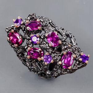 Handmade Jewelry design Rhodolite Ring Silver 925 Sterling  Size 7 /R177523