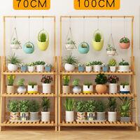 Garden Yard Bamboo Plant Stand Folding 3 Tier Hanging Multi Flower Display Shelf