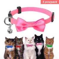 5pcs Small Dog Puppy Kitten Cat Breakaway Collar Safety Quick Release with Bell