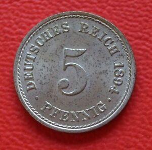 5 Pfennig 1894 A St/Empire/German Reich / Km# 11 J#12