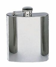 Stainless Steel Flask - 8oz Silver Plain Alcohol Flask - Steel Collar