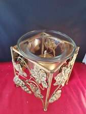 Metal Stand With Glass Potpourri Candle Holder Grapes Leaves Gold 6x6x7""