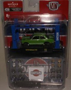 M2 MACHINES 1970 DATSUN 510, GREEN W/ LIFT & PARTS, 1 OF 6000, 1:64, NIB