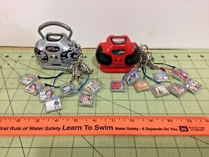 Vintage pair of working mini Hit Clips boom boxes with 15 clips by Tiger!
