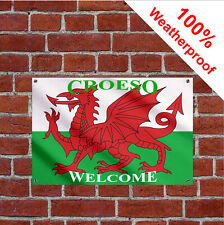 Croeso welcome sign 9015 Flapping welsh flag design