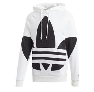 adidas Originals Hoodie Mens Large New Big Trefoil French Terry Sweatshirt White